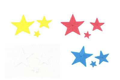 3 PCs Star Embroidered Applique Iron-on patch Sewing Badge Cloth Hat Fabric