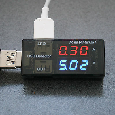 USB Voltmeter / Amperemeter Monitor Doctor Spannung Strom Messgerät 2 farbig