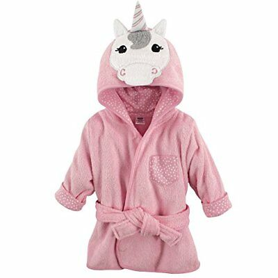 Hudson Baby Girls Pink Unicorn Animal Face Hooded Bathrobe 0-9 Months Cute