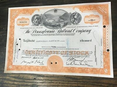The Pennsylvania Railroad Company Stock Certificate