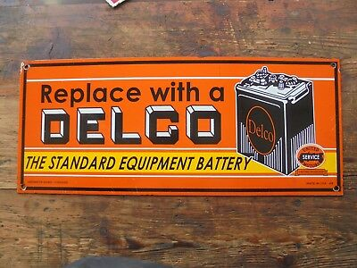 "Replace With Delco The Standard Equip Battery porcelain sign garage ""MADE US 49"""