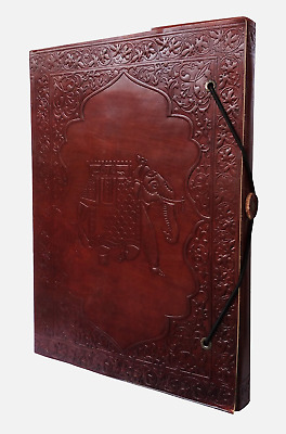 "Gbag (T) 10 "" Elephant Embossed for good luck leather journal blank leather appo"
