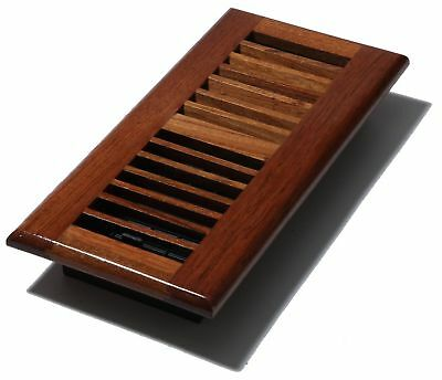 Decor-Grates-Wood-Floor-Register-Air-Vent-Louvered Solid Cherry-4x10 4x12 4x14.