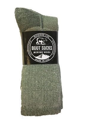 Outdoor Life 38% Warm Merino Wool Boot Socks 3 Pair Army Green Size Large