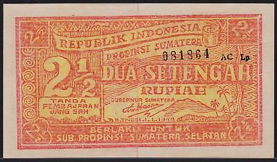 Banknote INDONESIA South Sumatra - 2 1/2  Rupiah 1948 - P. S202 in XF