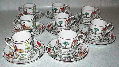 Crown Staffordshire Hunting Scene 8 Demitasse Cups Saucers England Horse Fox