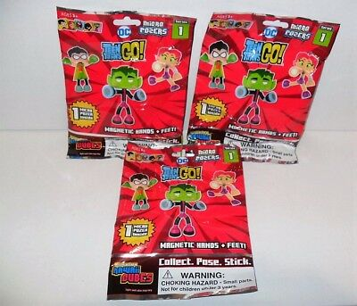 Kawaii Cubes Dc Teen Titans Go S1 Micro Poser Magnetic Lot Of (3) New Sealed