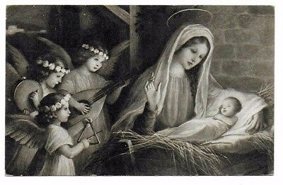 Gorgeous Black & White Postcard of Mary with Jesus Being Serenaded by Angels