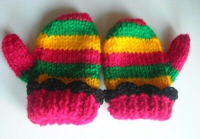 Baby mittens with thumb. Rasta colours. Handmade. New. 2-5 months approx.