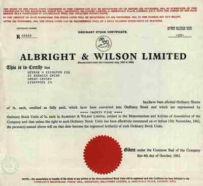 Albright & Wilson Limited 1963 Birmingham Selly Oak Worcester Tenneco ICI 25 Sha