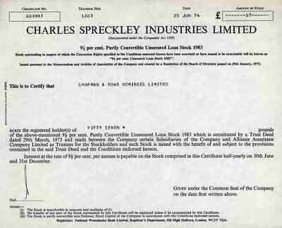 Charles Spreckley Industries Limited 1974 Loanstock Westminster Bank London 57 S