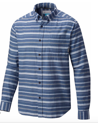 Columbia Mens S-XL-XXL Out and Back II Long Sleeve Shirt Dark Mirage Stripe