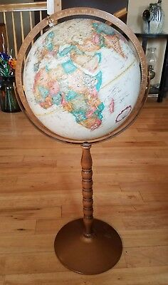 "Vintage 1970's REPLOGLE WORLD CLASSIC GLOBE 12"" Raised Relief Floor Stand 31"""