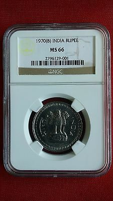 ☆  1970 (B) Diamond Mumbai India Republic One RUPEE NGC MS66 /highest Grade ☆