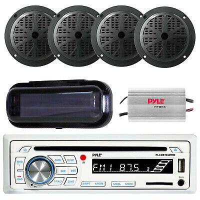 Pyle Marine AM/FM Radio Stereo System & Bluetooth & Cover 4 Speakers + 400W Amp