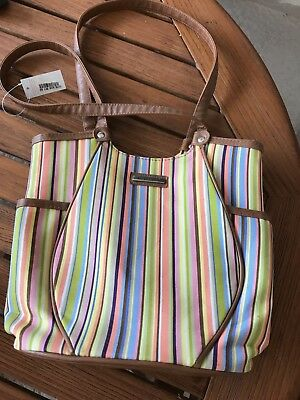 "Longaberger Summertime Stripe tote new with tag 10"" tall 10"" wide"