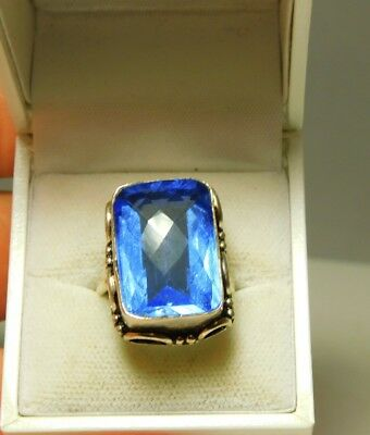 Large Emerald Cut Blue Topaz Color Stone Sterling Silver Ring size 9.5