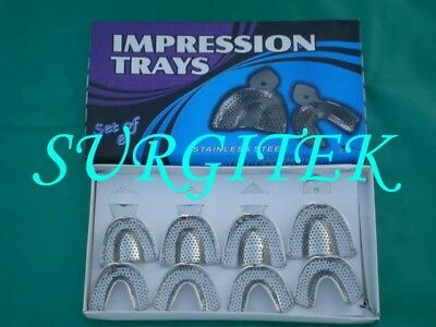 Impression Tray Perforated, 8pcs, Quality Dental Set, Oral, Surgical, Dental
