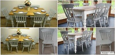 Brand New Painted Farmhouse Country Style Kitchen Dining Chairs in Paris Grey
