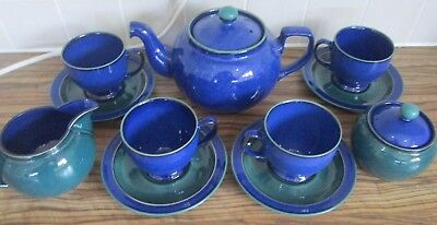DENBY BLUE METZ TEA SET TEAPOT 4x CUPS SAUCERS MILK JUG SUGAR BOWL