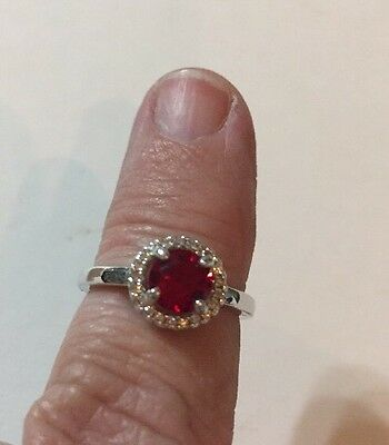 Stunning Vintage Estate Ring Size 5 Red Stone Silver Tone