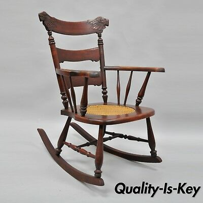 Antique Carved Mahogany Eagle Rocking Chair Rocker Victorian Figural Cane Seat