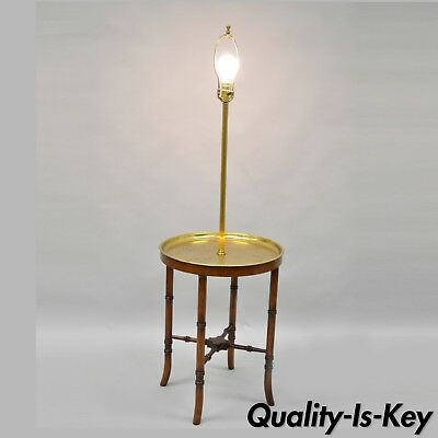Vtg Wood Faux Bamboo Chinese Chippendale Style Brass Tray Floor Lamp Side Table