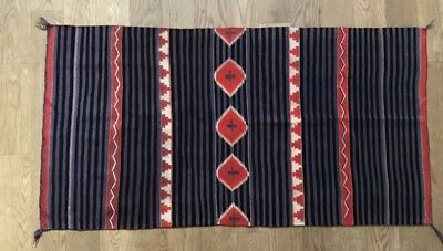 "1890s Navajo JB Moore Germantown Rug Native American Moki Blanket 31""X 59"" Rare"