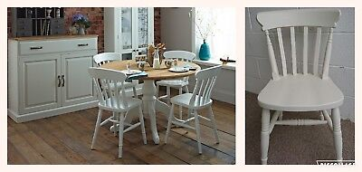 Solid Wood Slat Back Farmhouse Country Kitchen Dining Chairs in Old White