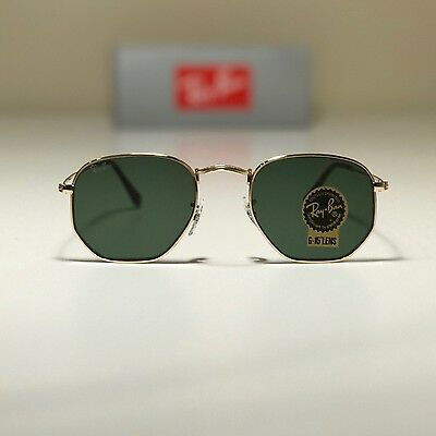 New Ray-Ban Hexagonal Flat Lenses Gold RB3548N 001 51-21 51mm G15 Green Lens