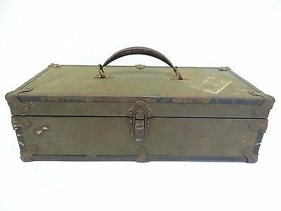 Antique Old Eagle Lock Co Wood Tin Lined Storage Trunk Case Box Used Wooden