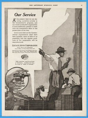 1918 Savage Arms Handgun Halting Public Production For War Time Effort WWI Ad
