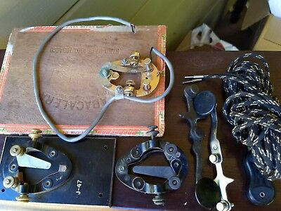 BIG lot telegram telegraph keys cloth cord parts