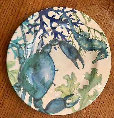 Cynthia Rowley Coral Reef MELAMINE Dinner Plates Set Of 6 Blue Crab Seahorse & CYNTHIA ROWLEY CORAL Reef MELAMINE Dinner Plates Set Of 6 Blue Crab ...