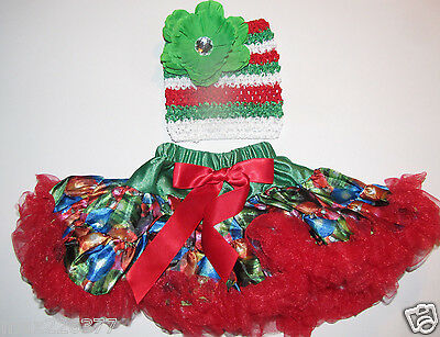 NEW  Baby winter 3-18 MONTHS  Christmas tutu top & FLOWER and PETTISKIRT