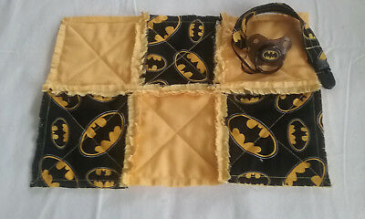Batman Infant Raggedy Security Blanket With Removeable Pacifier