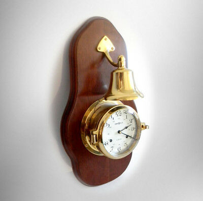 Howard Miller wall clock 613-463 brass ship style with bell- FREE SHIP