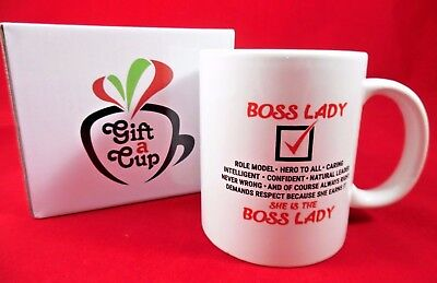 Boss Lady Coffee Mug Tea Cup Giftbox 10 oz Women's Pretty Gift for Her Mom Wife