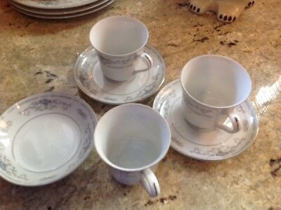 Vintage Fine Porcelain China Diane Japan Footed Coffee Tea Cups and Fruit Bowl