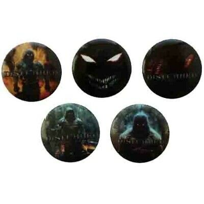 Disturbed 5 Button Badge Set Offical Metal Rock Band Merch
