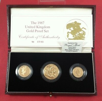 1987 UK Gold Proof Collection 3 Coin Set