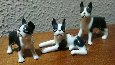 Vintage BRADLEY BONE CHINA Boston Terriers Set of 3 black & White dog figurines