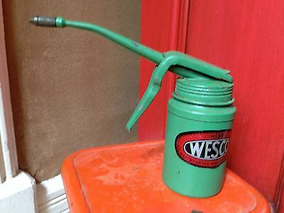 Vintage Green Wesco Thumb Pump Oil Can Made In England Advertising Collectable