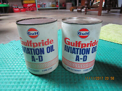 Gulf Oil Gulfpride aviation Oil A-D Cans x Two
