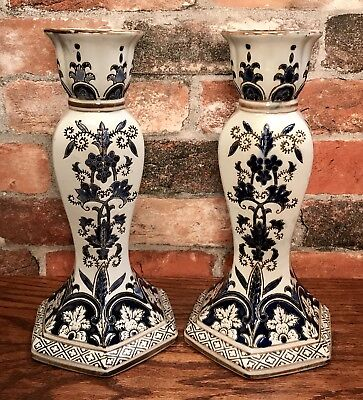 "Pair of Blue & White Ornate Porcelain 11"" Tall Candle Holders"