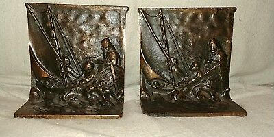Antique Bronze Jesus And Fishermen Bookends
