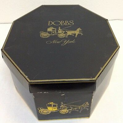 Vintage Dobbs Golden Coach Fifth Avenue Hats Box EMPTY (NO HAT) Octagonal NY