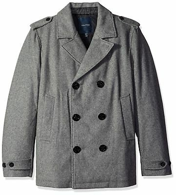 Nautica NEW Gray Heather Mens Size Large L Double-Breasted Wool Peacoat $348 111