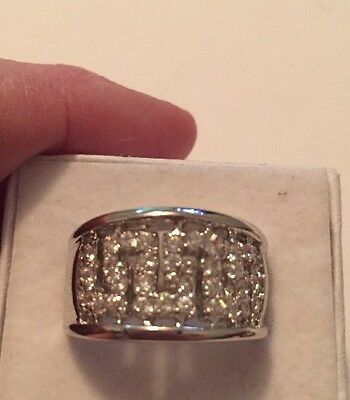 Stunning Modern To Vintage Estate Ring Size Silver Tone  Wide Band