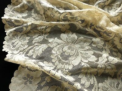 HUGE 68x144 Antique FRENCH ALENCON LACE Unused Tablecloth FRANCE ~PRETTY FLOWERS